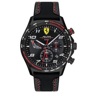Relógio Scuderia Ferrari Masculino Couro Preto - 830717