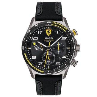Relógio Scuderia Ferrari Masculino Couro Preto - 830718