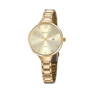 Relógio Seculus Feminino Glamour Dourado 20885LPSVDS1