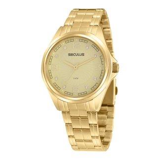 Relógio Seculus Feminino Glamour Dourado 20936LPSVDS2