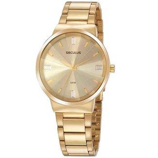 Relógio Seculus Feminino Glamour Dourado 77079LPSVDS1