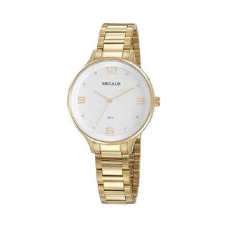 Relógio Seculus Feminino Glamour Dourado 77080LPSVDS3