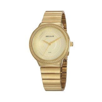 Relógio Seculus Feminino Glamour Dourado 77084LPSVDS1