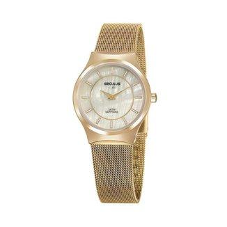 Relógio Seculus Feminino Line Dourado 20772LPSVDS4