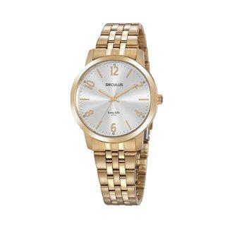 Relógio Seculus Feminino Long Life Dourado 20864LPSVDA1