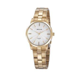 Relógio Seculus Feminino Long Life Dourado 20865LPSVDA1