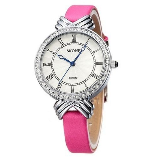 Relógio Skone Analógico 9092L - Rosa