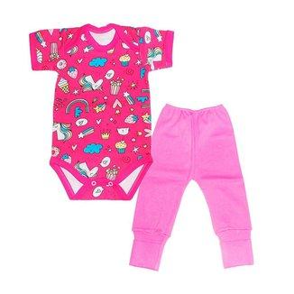Roupa bebe menina body manga curta-unicórnio conjunto 2 peças - Bener babys