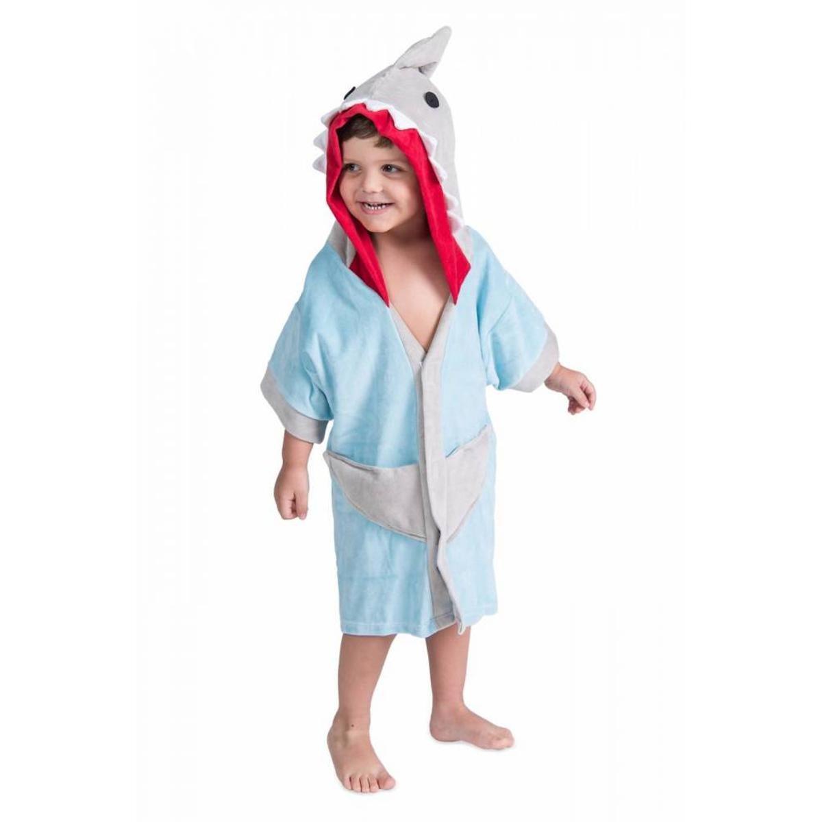 e438a00cbadb0d Roupão Infantil Tubarão Lé com Cré Masculino - Azul Claro