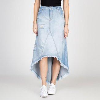 Saia Bloom Jeans Midi Assimétrica Destroyed Feminina