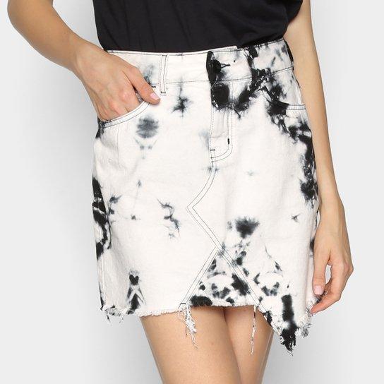 Saia Colcci Tie Dye Curta Assimétrica - Branco+Preto