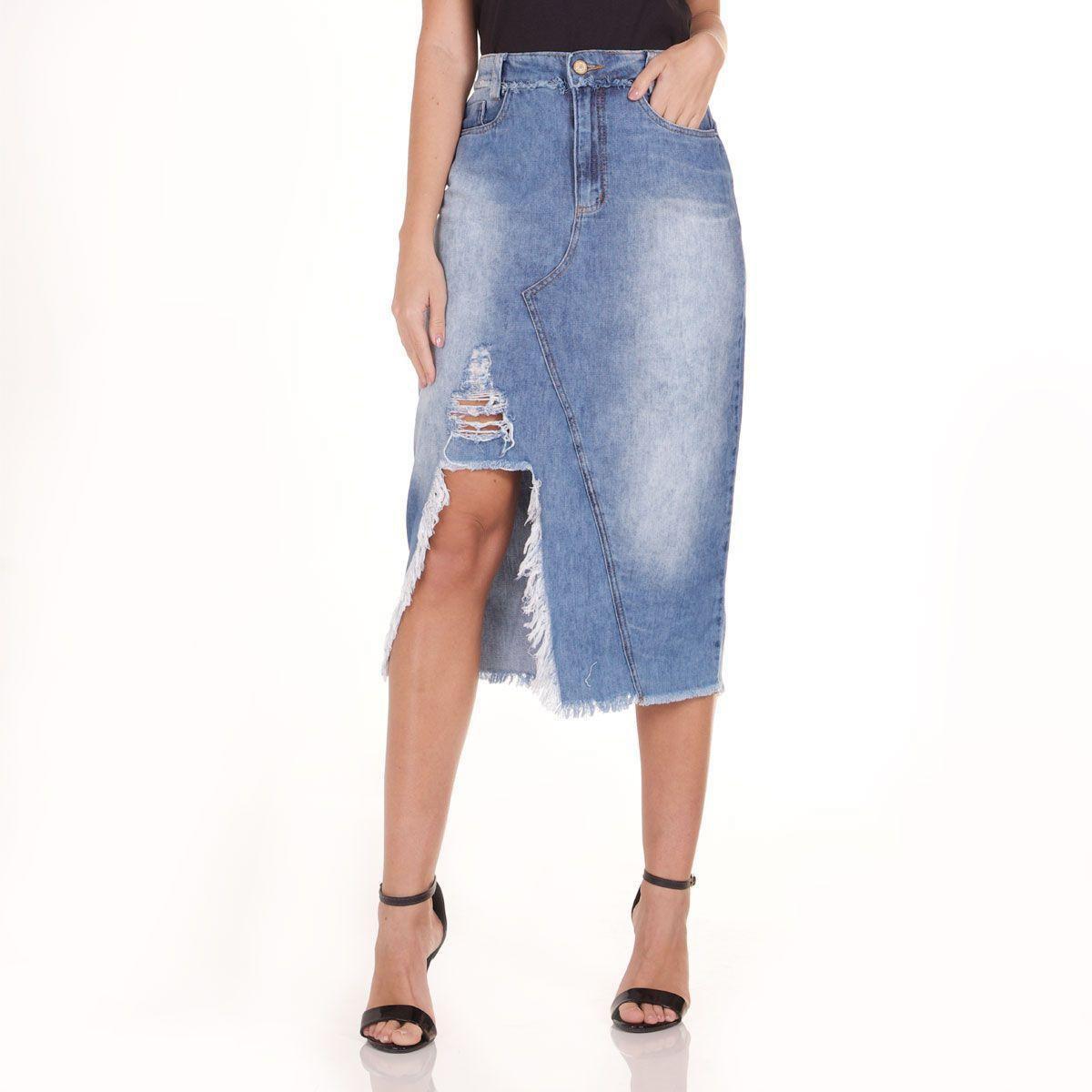 Saia Jeans Areazul Feminina - Azul