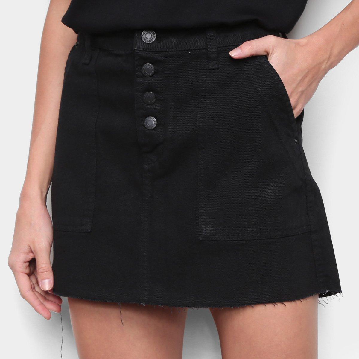 Saia Jeans Calvin Klein Color Botões Aparentes - Preto