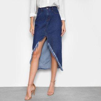 Saia Jeans Cambos Destroyed Assimétrica