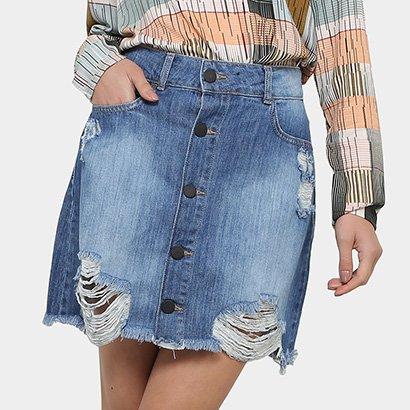 Saia Jeans Colcci Botões Feminina
