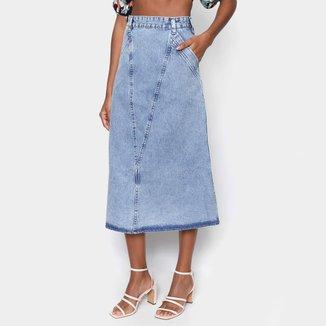 Saia Jeans Oh Boy Midi Longa Feminina