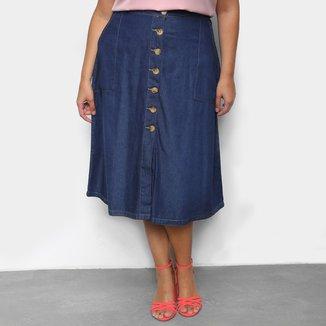 Saia Jeans Plus Size Cambos Midi Bolsos