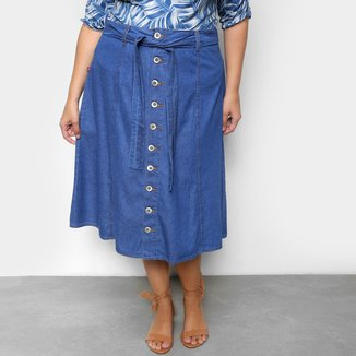 Saia Jeans Plus Size Cambos Midi Botões