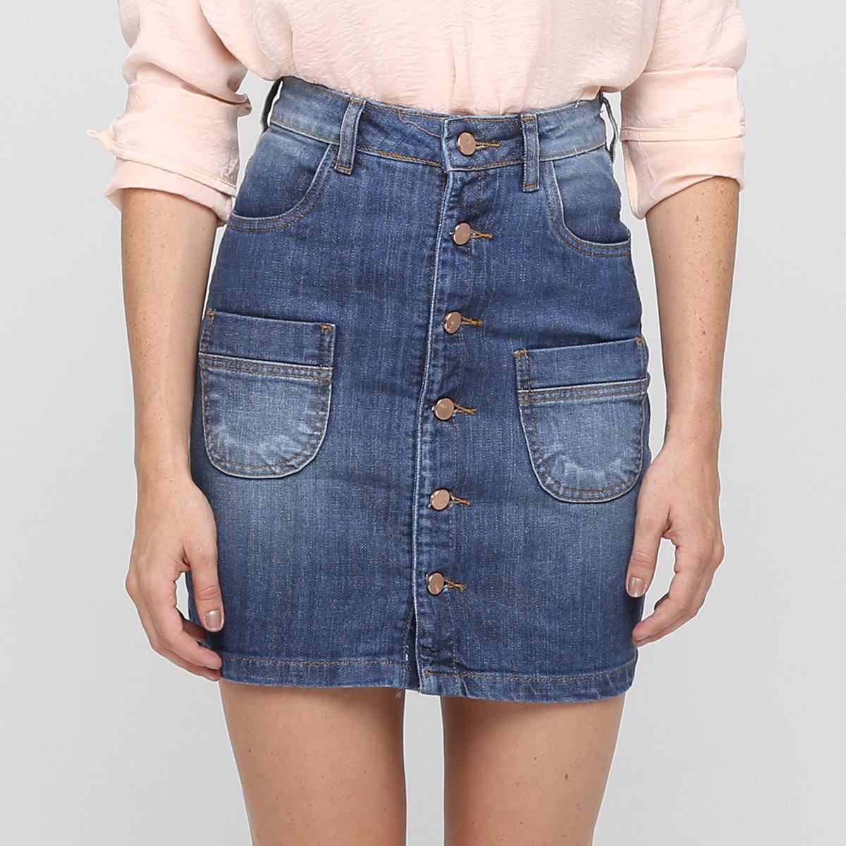 Top Saia Jeans Zune Cintura Alta Botões - Jeans VI83