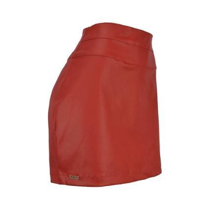 Saia Knt Vermelha Curta Leather-Feminino