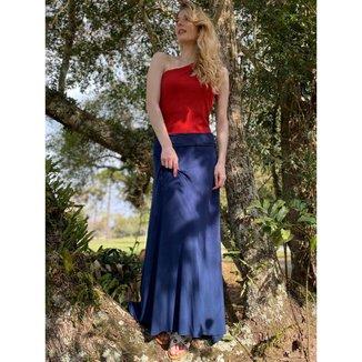Saia Longa Malha Azul Marinho SAZ - Único - Veste 38 ao 48