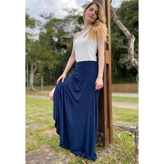 Saia Longa Malha Lisa Loures Azul - M - Veste do 40 ao 44