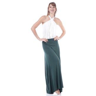 Saia Longa Malha Lisa Verde Musgo - M - Veste do 40 ao 44