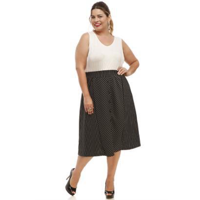 Saia Melinde Plus Size Recortes-Feminino