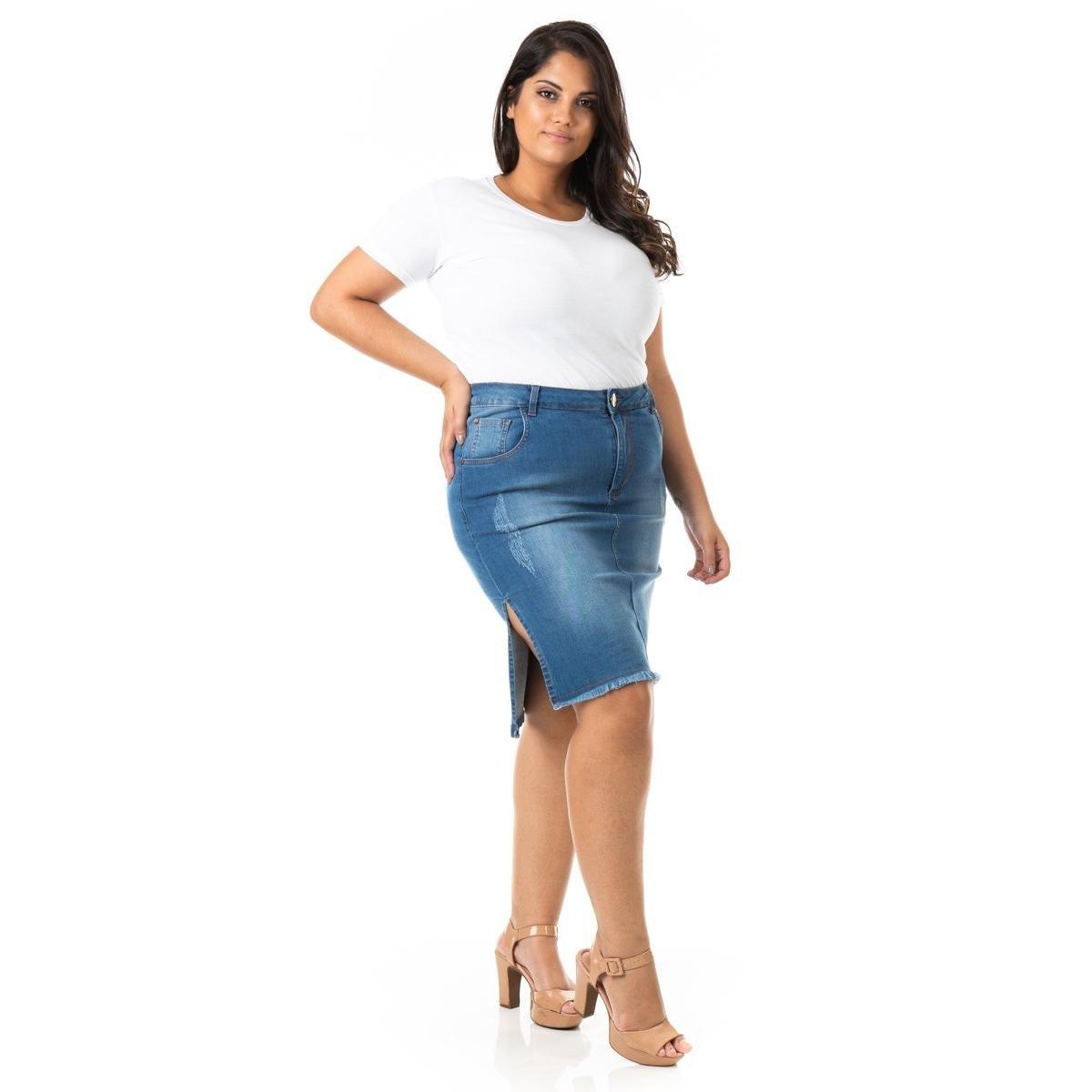 Saia Midi Jeans com Fenda Lateral Plus Size Confidencial Extra Feminina - Azul