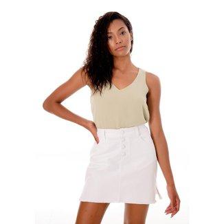 Saia Sisal Jeans Color Básica Feminina
