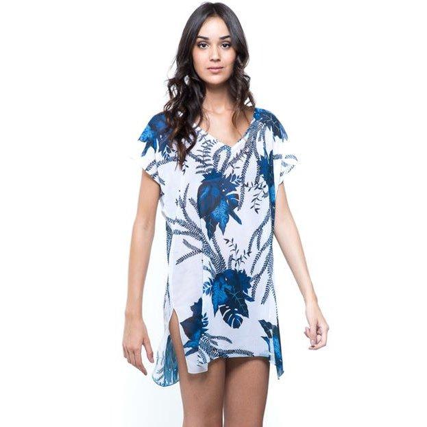 Saida de praia 101 Resort Wear - Branco e Azul