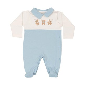 Saída Maternidade Bebê Anjos Baby Gêmeos Em Suedine Bicolor Ursinho Masculino