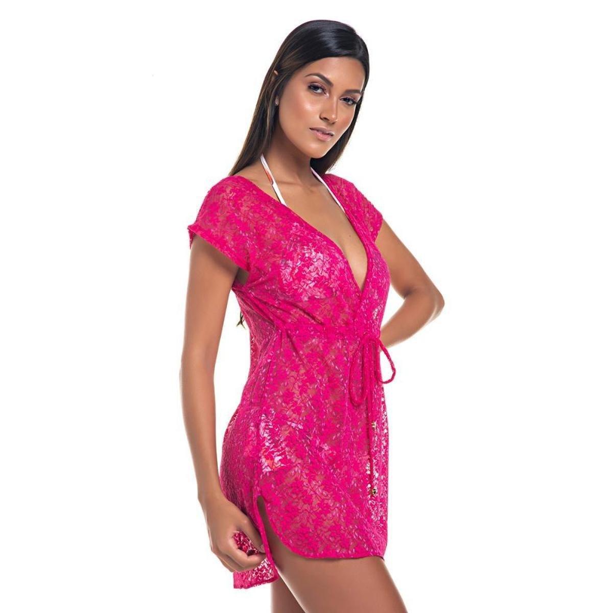 Saída  Renda Transpassada Moda Verão Piscina - Pink