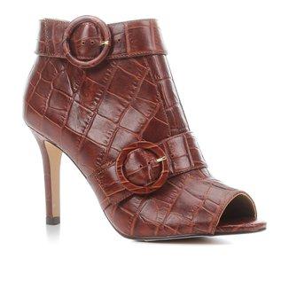 Sandal Boot Couro Shoestock Croco Salto Fino Feminina