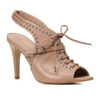 Sandal Boot Couro Shoestock Metais Salto Alto