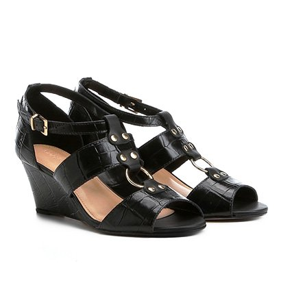 05bd6b32d7 Sandália Anabela Couro Shoestock Croco Feminina