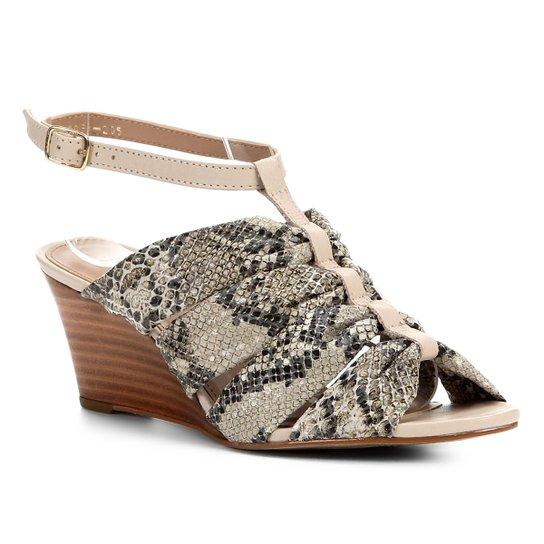 Sandália Anabela Couro Shoestock Drapeado - Off White