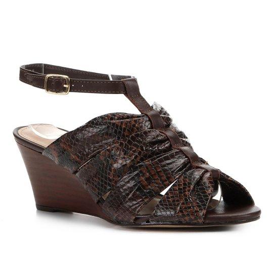 Sandália Anabela Couro Shoestock Drapeado - Marrom