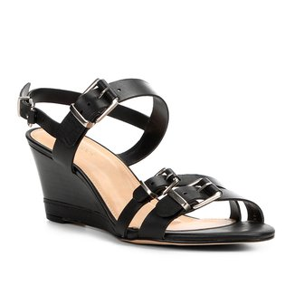 Sandália Anabela Couro Shoestock Fivelas Feminina