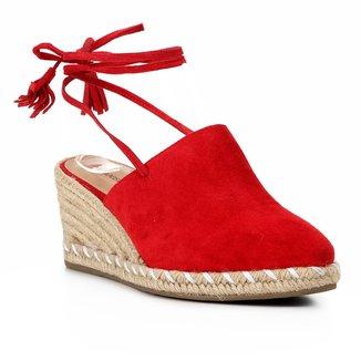 Sandália Anabela Shoestock Corda Camurça Feminina