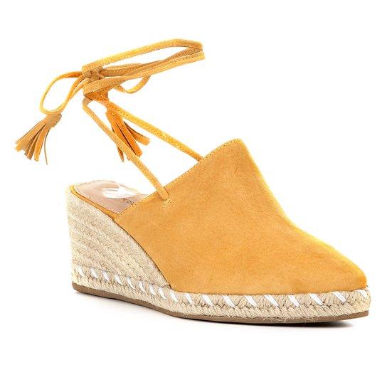 Sandália Anabela Shoestock Corda Camurça Feminina - Mostarda