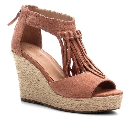 Sandália Anabela Shoestock Corda Franja Feminina - Bege