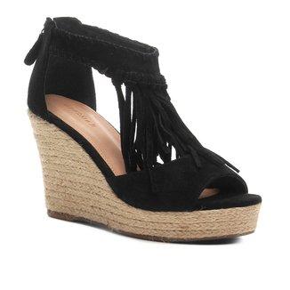Sandália Anabela Shoestock Corda Franja Feminina