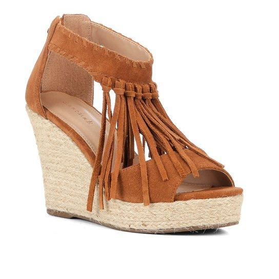 Sandália Anabela Shoestock Corda Franja Feminina - Caramelo