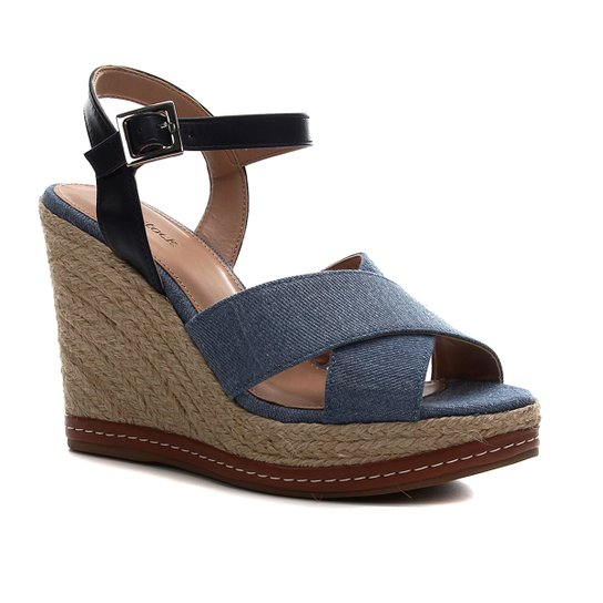 Sandália Anabela Shoestock Corda Jeans - Jeans