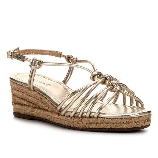 Sandália Anabela Shoestock Corda Nós Feminina - Dourado