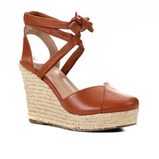 Sandália Anabela Shoestock Corda Tiras Feminina - Caramelo