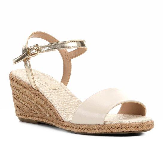 Sandália Anabela Shoestock Couro Corda Feminina - Branco