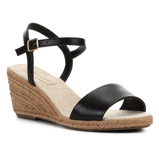 Sandália Anabela Shoestock Couro Corda Feminina - Preto