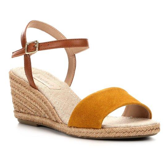 Sandália Anabela Shoestock Couro Corda Feminina - Amarelo